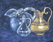 "Trio of pitchers, acrylic on texturized canvas, 16"" x 20"", 2010, by Susan Hay"