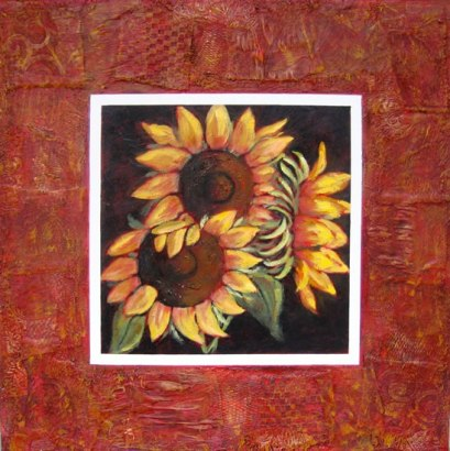 "Trio of Sunflowers, collaged frame, acrylic on texturized canvas, collaged frame: fabrics, papers, etc., 30"" x 30"", 2011, SOLD"