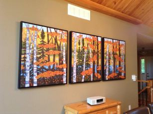 "Wenona Lake shoreline in Autumn"" Each panel is 30 x 36"", acrylic on texturized canvas"