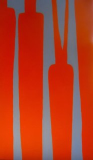 "Carrots, complementary colours, acrylic on canvas, 24"" x 48"", 2011, SOLD"