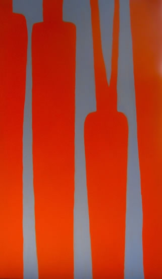 "Carrots, complementary colours, acrylic on canvas, 24"" x 48"", 2011"