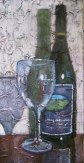 "Wine bottle and glass, acrylic on texturized canvas, 10"" x 20"", 2010"
