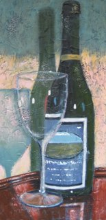 "Wine Bottle and Glass; acrylic on texturized canvas, 15"" x 30"", 2011, SOLD"