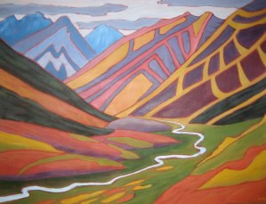 "Yukon Red and Gold, acrylic on canvas, 30"" x 40"", SOLD"