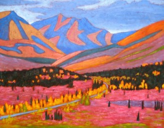 "Yukon in Fireweed Season, acrylic on texturized canvas, 28 x 36"", 2012"