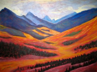 "Yukon Gold, acrylic on canvas, 30"" x 48"", SOLD"