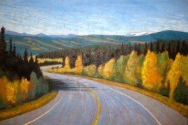 "Yukon through my windshield series #2, acrylic on texturized canvas, 28 x 36"", 2012"