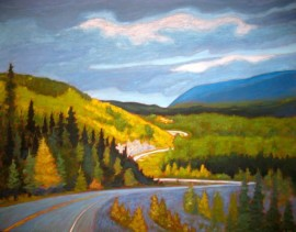 "Yukon through my windshield series #1, acrylic on texturized canvas, 28 x 36"", 2012"