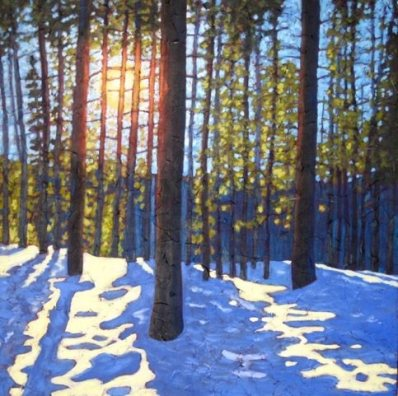 "Winter Morning, acrylic on texturized canvas, 30"" x 30"" SOLD"