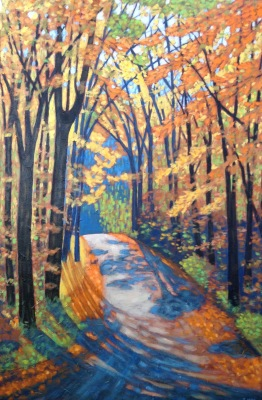 "Boice Bradley Rd. In Autumn, 24 X 36"", acrylic on texturized canvas"