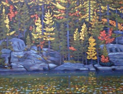 "Loon L. Shoreline in Autumn 40 X 30"", acrylic on texturized canvas"