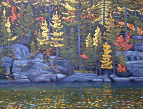"Loon L. Shoreline in Autumn 40 X 30"", acrylic on texturized canvas"