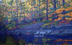 "Koshlong L. Shoreline in Autumn 48 X 30""' acrylic on texturized canvas"