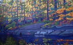 "Koshlong L. Shoreline in Autumn 48 X 30""' acrylic on texturized canvas"