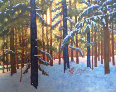 Just a glorious day in the Woods, acrylic on texturized canvas, 30 x 24""