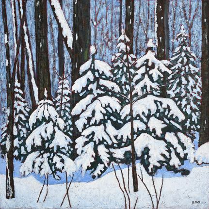 """Laden with Snow, acrylic on texturized canvas, 24 x 24"""""""