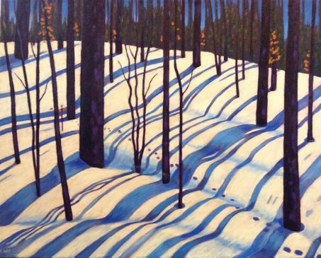"Ribbons of Sunlight and Shadow, acrylic on canvas, 30 x 24"" donated to YWCA"