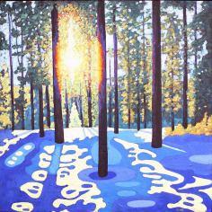 "Sunshine and Shadow Shapes #2, acrylic on texturized canvas, 30 x 30"""