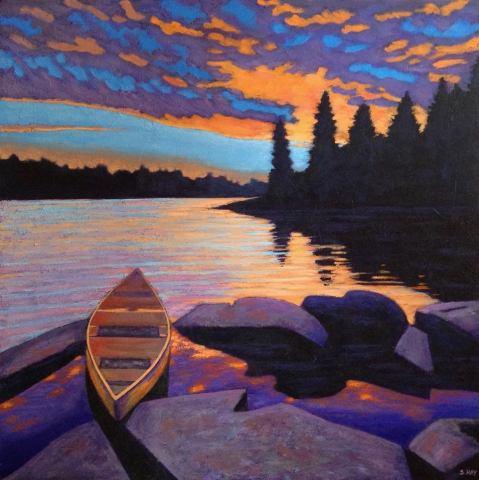 """Canoe at Sunset, acrylic on texturized canvas, 30 x 30"""""""