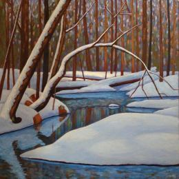"""Spring Meltwater in the Bush, acrylic on texturized canvas, 30 x 30"""""""