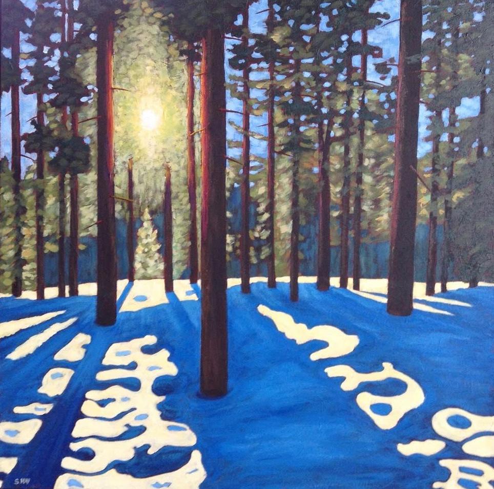 "Sun and Shadows in Winter Woodland, acrylic on texturized canvas, 30 x 30"""