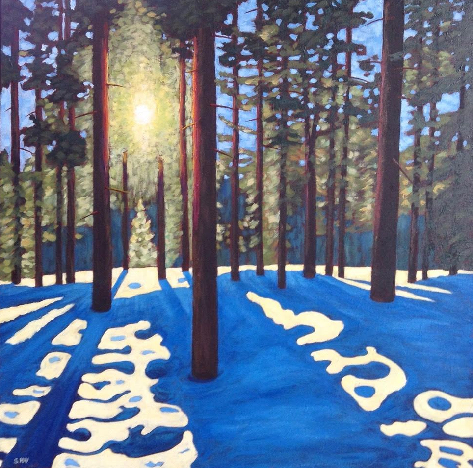 Sun and Shadows in Winter Woodland, acrylic on texturized canvas, 30 x 30""