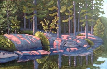 """Early Morning Paddle, acrylic on texturized canvas, 46 x 30"""""""