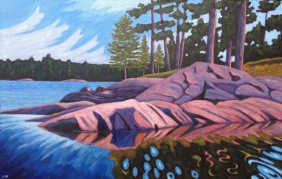 "Rocky Point Reflections, acrylic on texturized canvas, 46 x 30"""