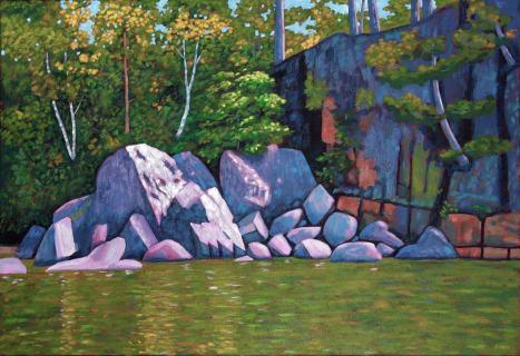"Rocky Shoreline on Drag Lake, acrylic on texturized canvas, 44 x 30"""