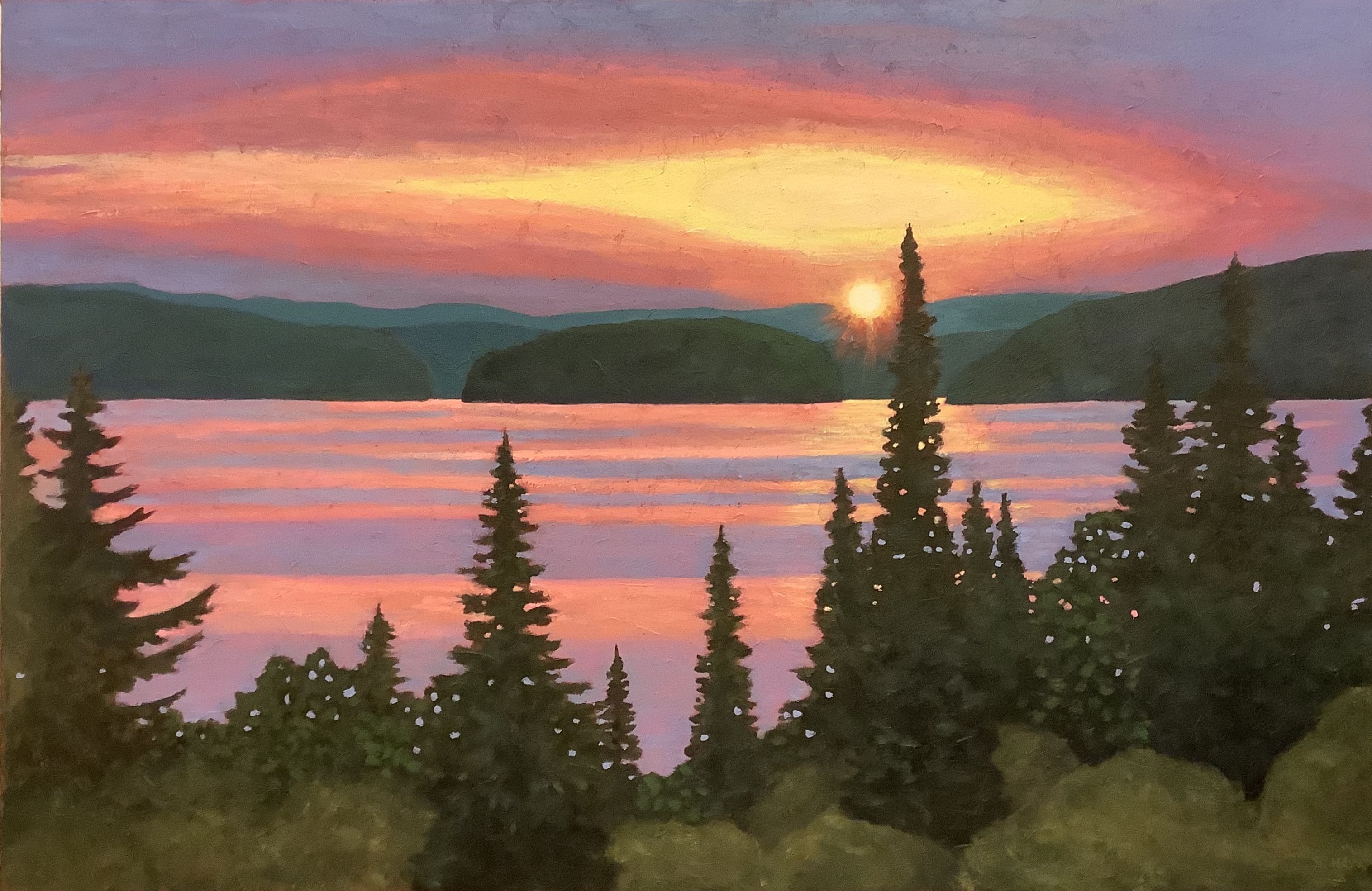 Haliburton Sunset Painting Susan Hay Acrylic Texturized Canvas